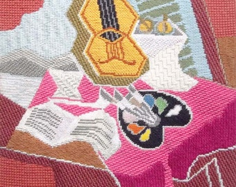 """STILL LIFE with Palette - Hand Stitch Painted Needlepoint Canvas - app. 12"""" X 14"""" - 13 mesh - lovely stitched, framed - free s&h to the U.S."""