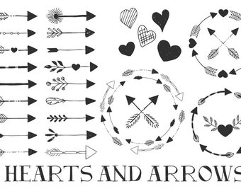 Arrow & Hearts. Png. Eps. Svg. Dxf. Studio3.