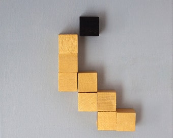 Abstaktes image III, geometric, canvas with wood elements, gray-gold-black, mixed media, collage, original, #christmas, #Weihnachten