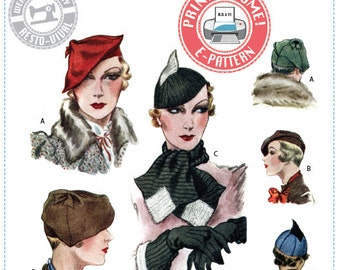 E-Pattern- 1933 Accessories- Hats, Scarf, Gauntlet Cuffs - Wearing History PDF Vintage Sewing Pattern 1930 30s