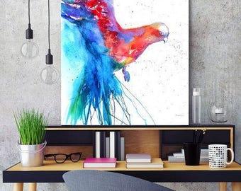 Parrot art, Red Parrot, Blue Exotic bird, Bird Painting, Parrot Painting, Wall Art, Tropical Birds Art, Parrots art, Blue Tropical poster