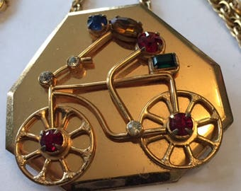 Gold Tone and Rhinestone Bicycle Bicyclist Pendant Necklace