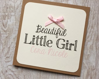 Handmade Personalised Card, New Baby, Bow Embellishment, Congratulations, Recycled Kraft or Grey Card