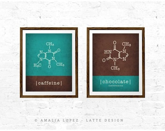 Caffeine & chocolate molecules Set of 2 prints. Caffeine print coffee print caffeine molecule coffee lover gift coffee gift science gift