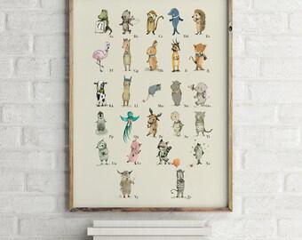 DUTCH - Alphabet Poster - Alphabet art - Alphabet print - ABC wall art - ABC print - Nursery art - Nursery decor - Children's art