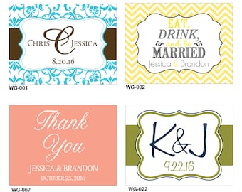 54 - 4x3 Glossy Waterproof Wedding Rectangle / Welcome Bag Stickers - hundreds of designs to choose - change designs to any color or wording
