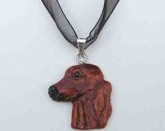 Dog Breed IRISH SETTER Handpainted Clay Necklace/Pendant Artist Painted