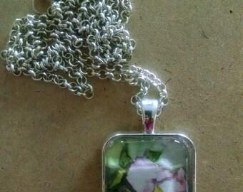 Fine Art Jewelry Watercolor Pendant - Pale Pink Flower Necklace