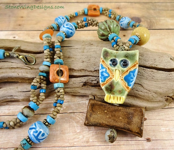 Colorful Artisan Ceramic Owl and Turquoise Necklace