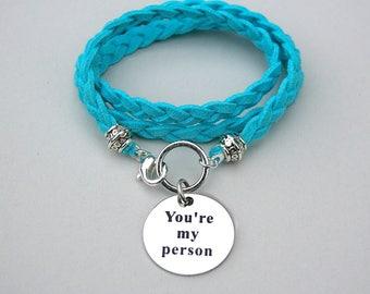 "Boho Triple Wrap Bracelet, Stainless Steel ""You're My Person"" Braided Faux Suede Boho Wrap Bracelet, Under 25, Grey's Anatomy, Best Friends"