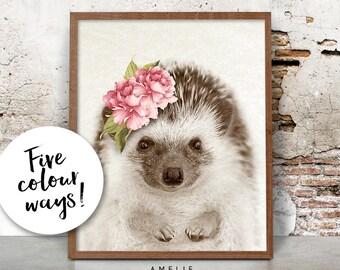 Hedgehog Print, Woodland Decor, Nursery Animal Wall Art, Watercolour Flower, Cute Baby Hedgehog, Printable Digital Download