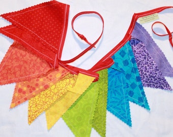Bright and Cheery Rainbow pennant bunting fabric banner in red orange yellow green blue purple - 12 double sided flags - birthday decor
