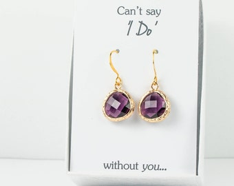 Amethyst Gold Earrings, Purple Gold Earrings, Bridesmaid Earrings, Plum Wedding Jewelry, Wedding Accessories, Bridesmaid Gift, Mint Jewelry