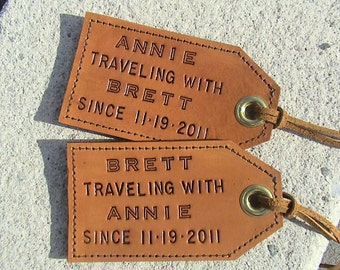 Featured in Country Living - His and Hers - 3rd Anniversary - Personalized Leather Luggage Tags - set of 2 - Traveling with... since