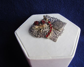 vintage SILVERTONE PIN BROOCH with Red Stones ; Jewelry