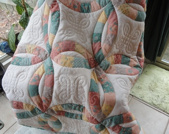 Hand Quilted Baby or Toddler Quilt 46x46
