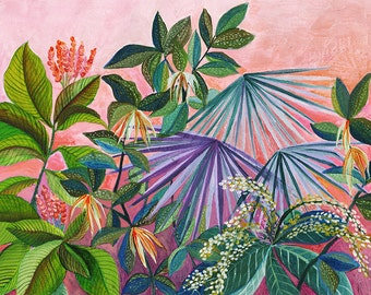 Tropicalia in Pink  and Purple - illustration - giclee print