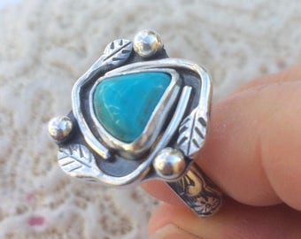 Artisan Stacking Turquoise Ring Sterling Silver Leaf Ring Nature Lover Gift Size 7 3/4 Kingman Turquoise Bohemian Ring Silversmith Boho Ring