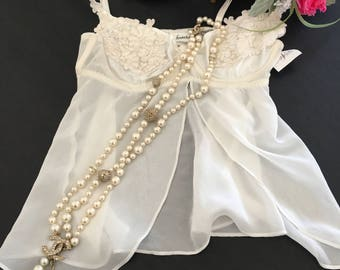 S / Fredericks of Hollywood / Babydoll / White/ Vintage Lingerie /  Small