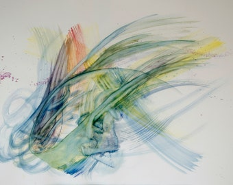 """Entanglement. Large original abstract watercolor painting 27.5""""x39.5"""" Yellow, green, blue purple Gestural artwork Fine art Living room decor"""