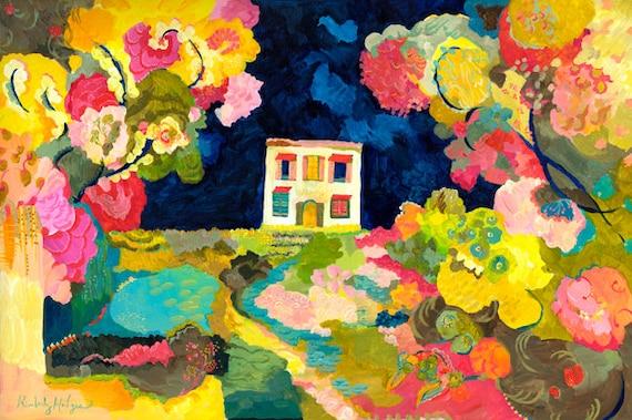 Nightgarden giclee print by Kimberly Hodges, watergarden, night art, provence style, garden art, folk art, waterpond art