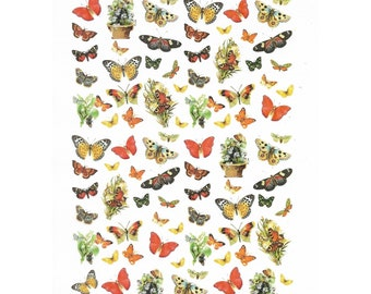 Rice Paper Sheet 16x22 cm Butterflies for Decoupage Crafts Washi Paper