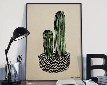Cactus Print, Hand Drawn Cactus Wall Art, Large Wall Art, Cute Cactus Gift, Playful Botanical Print, Green and Black Cactus Doodle Decor
