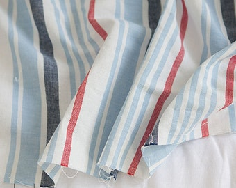 Linen Fabric Blue & Red Stripe By The Yard