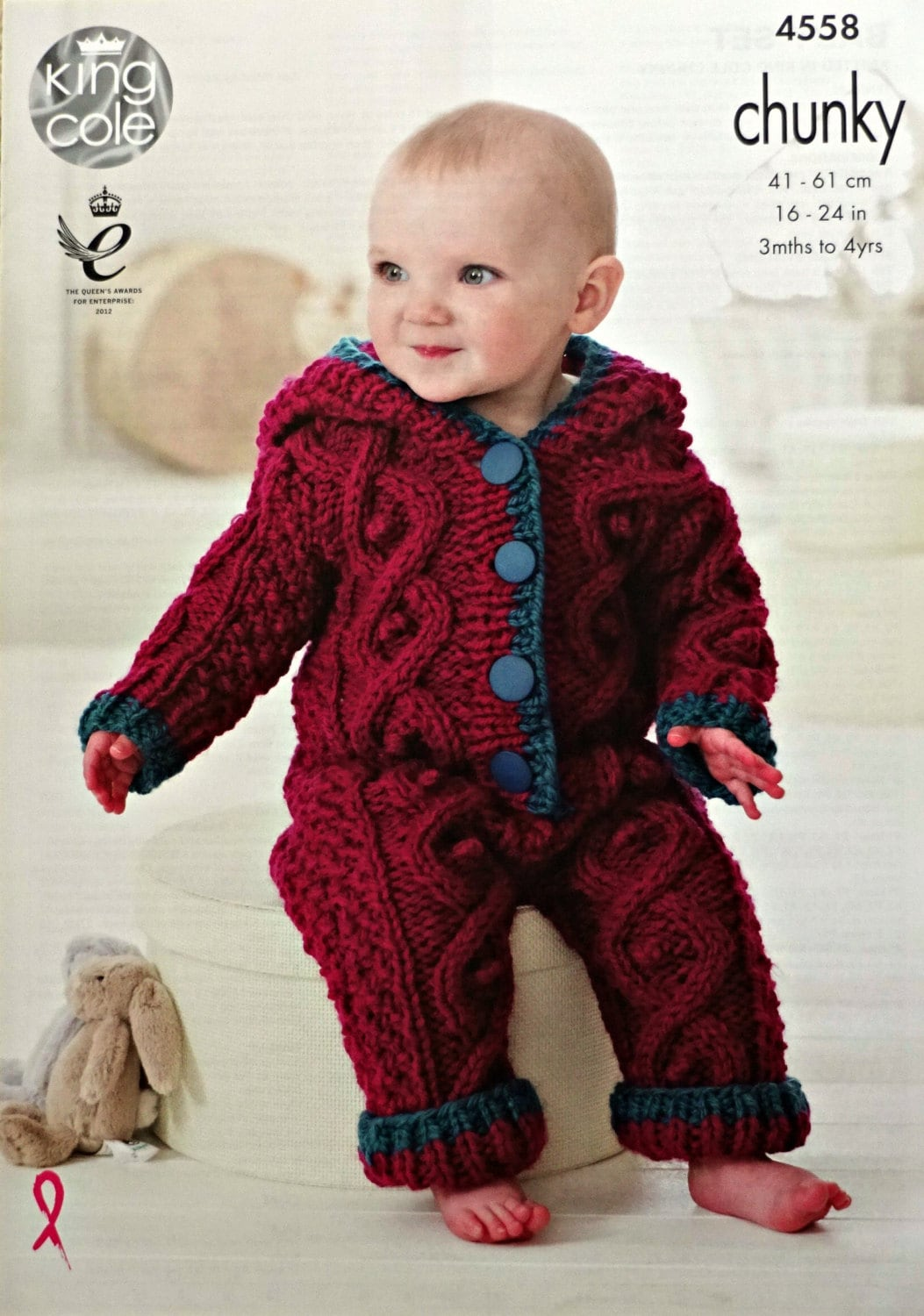 Baby Knitting Pattern K4558 Baby Long Sleeve Roll Collar Cable And