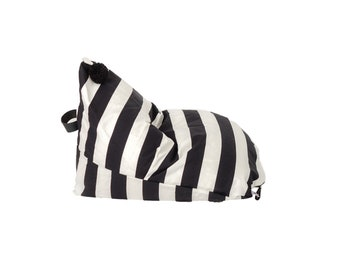 "Kids Black and White Stripe Bean Bag Chair ""Alden"""
