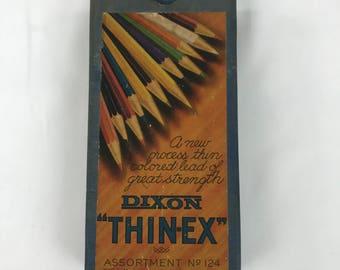 Vintage Colored Pencils, Dixon Thin-Ex Pencils Assortment No. 124 in Original Box, Lot of 23 Colored Pencils, Art Supplies, Made in USA