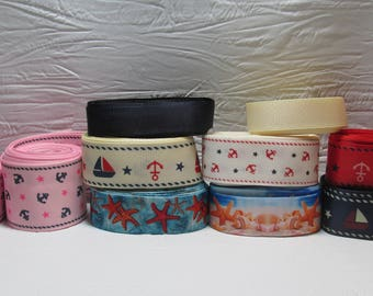 Grosgrain ribbon bundle 12 yards of starfish, anquors, boats, sailboats, with solid color ribbons, Kit
