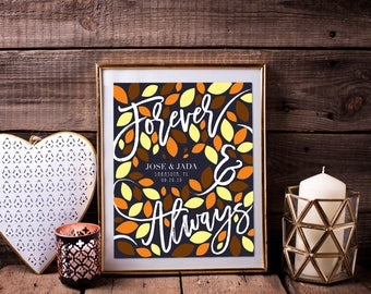 Rustic Fall Wedding Guestbook, Autumn Tree Signature Guestbook, Wedding Guestbook / Custom Art Paper Canvas Print / W-VQ01-1PS AA3 05P 02N