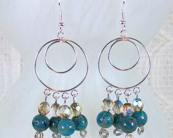 Chandelier Earrings for Women / Silver Chandelier Earrings / Beaded Earrings / Boho Earrings / Blue Earrings / Handmade Earrings