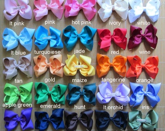 5% off 25 pcs 4 inch hair bows, girls hair bows, hair bow, girl bows, baby bows, big hair bows, infant hair bows, bows, 46 colors to choose