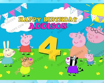 Custom Peppa Pig Inspired Birthday Backdrop