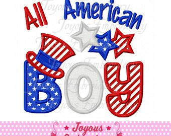 Instant Download 4th of July All American Boy Applique Embroidery Design NO:1725