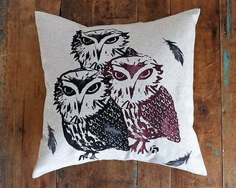 Linen OWL pillow cover / Linen Owl Cushion / screen printed by hand / hand made