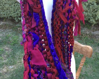 sale Deep reds purple shades Recycled silk hand knitted boho tattered rag scarf