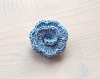 Lapel Pin, Blue Boutonniere, Buttonholes, Crochet Lapel Pin, Wedding Boutonniere, Crochet Brooch, Crochet Flower, Blue Lapel Pin.