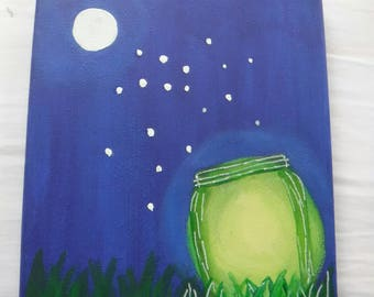 Hand Painted Canvas - Glow in the Dark Firefly