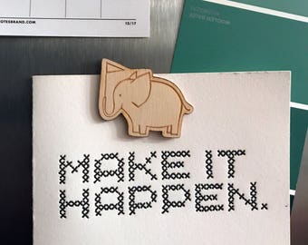 Wooden Elephant Magnet with Flag