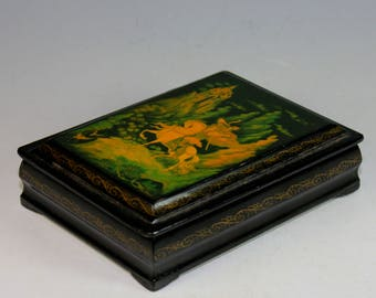 Vintage Russian Lacquer Box, Signed and title