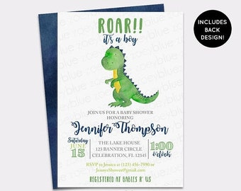 JUNE SALE Dinosaur Baby Shower Invitation - Trex Watercolor Baby Shower Invite -Dino Baby Sprinkle Invitation- Boy Blue Green Baby Shower In