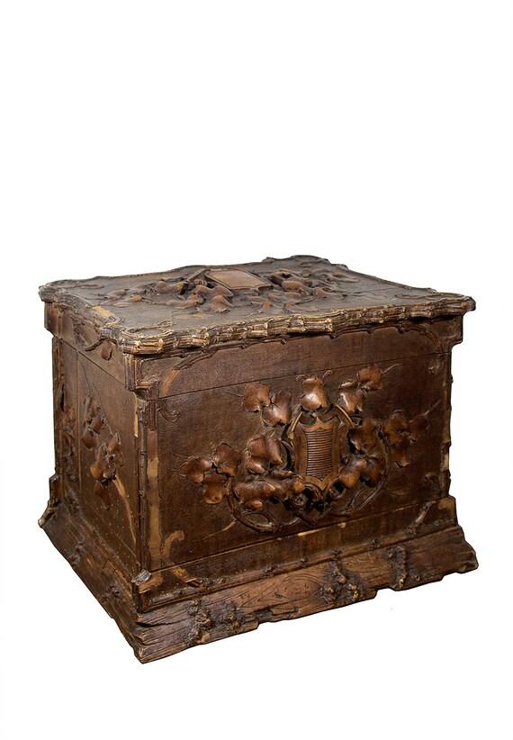 Like this item? - Antique Tantalus Box Liquor Box Bar Cabinet Carved Wood