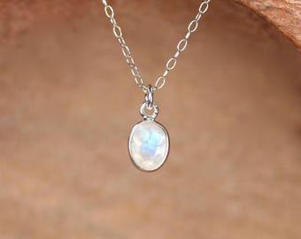 Silver moonstone necklace - tiny moonstone - tiny necklace - rainbow moonstone - silver lined moonstone
