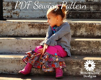 PDF Sewing Pattern, Ruffle Pants, Boutique Girls Pants, Capri Pattern, Child Clothes Sewing, Toddler Clothes, Sewing Pattern, Shorts Pattern