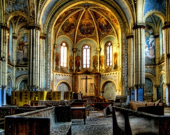 """Chicago Architecture color photography,Neglected Beauty, Fine Art Print, Abandoned Building """"Centrality Amongst Chaos"""""""