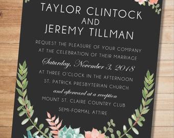 Chalkboard Floral Wedding Invitation - Digital Download