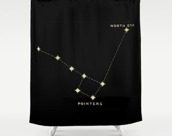 Little Dipper Shower Curtain, North Star, Little Dipper, Big Dipper, Rustic Shower Curtain, Black Shower Curtain, Fabric Shower Curtain